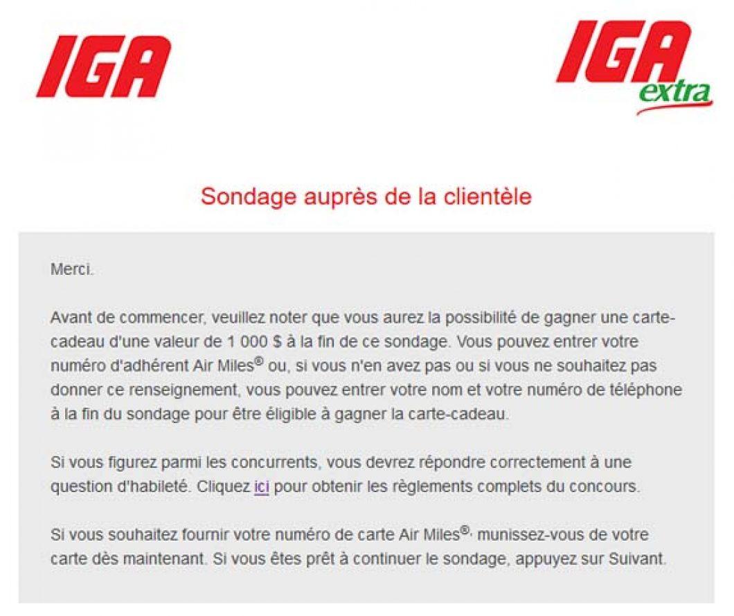 Concours Sondage sur la satisfaction de la clientèle IGA