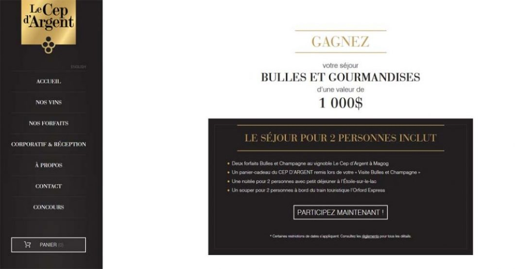 Concours Le CEP d'argent Séjour bulles et gourmandises d'une valeur de 1 000 $