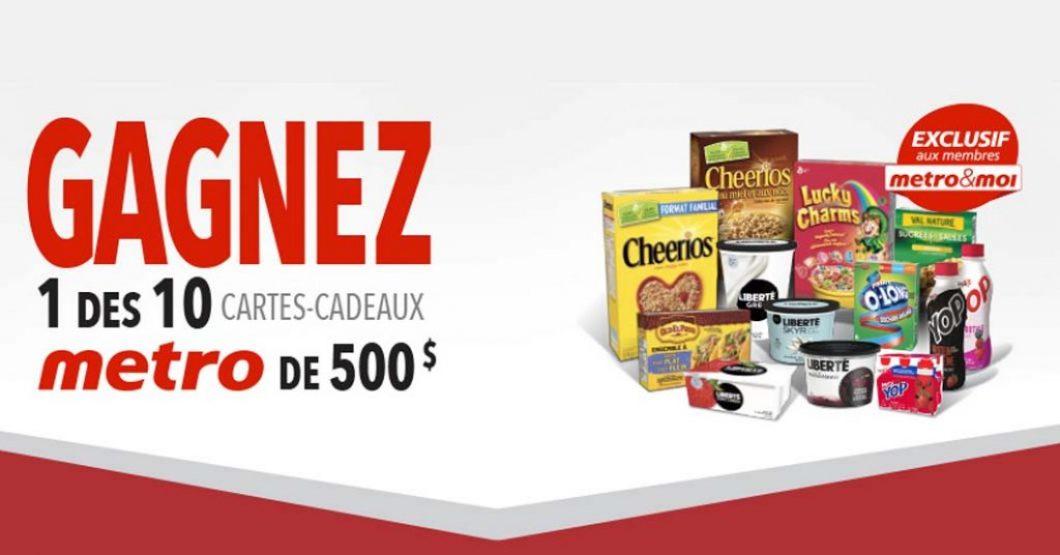 Concours Metro Gagnez 1 des 10 cartes-cadeaux de 500 $