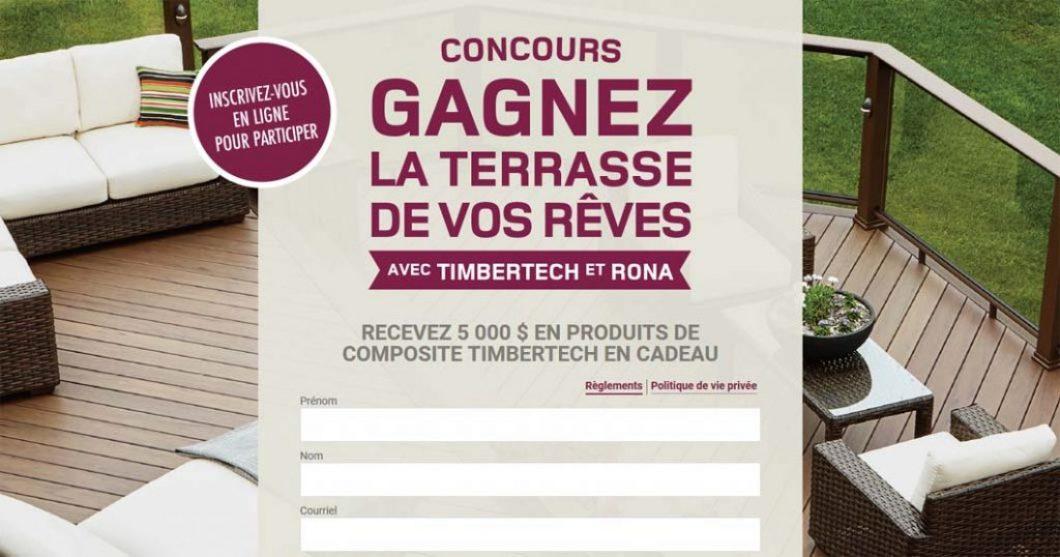 Concours Gagnez votre terrasse de rêve avec RONA & Timbertech