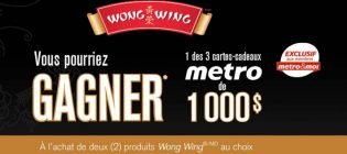 Concours Metro Gagner 1 des 3 cartes-cadeaux Metro de 1 000 $