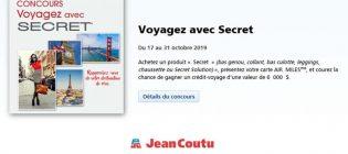 Concours Jean-Coutu Voyagez avec Secret