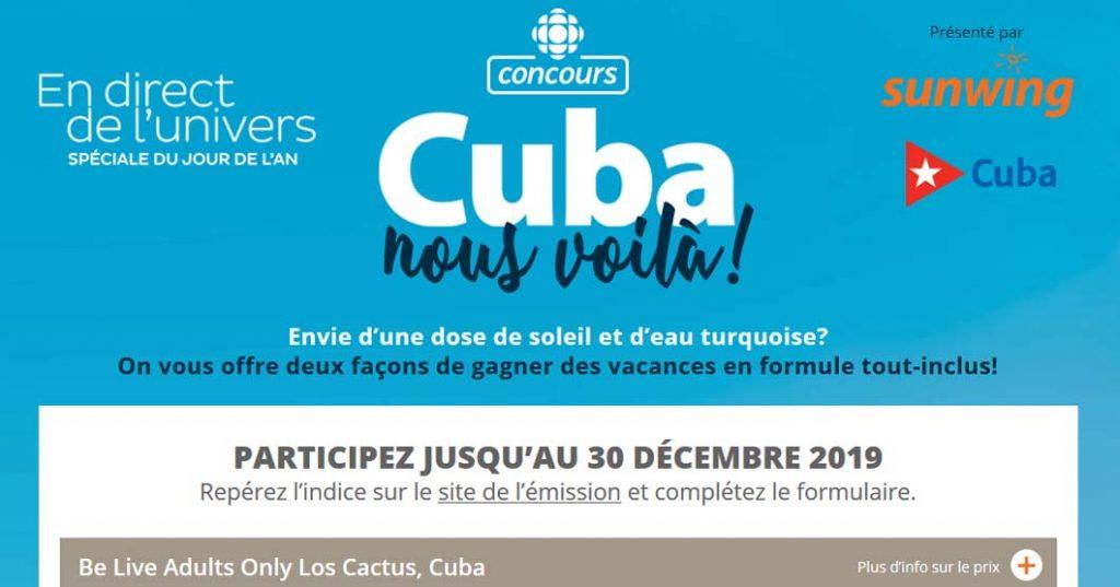 Concours En Direct De L Univers Jour De L An Gagnez Un Voyage A Cuba
