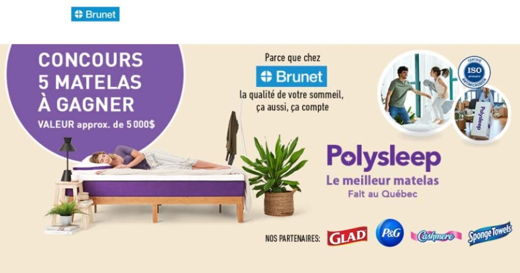 Concours Brunet Polysleep 5 matelas à gagner