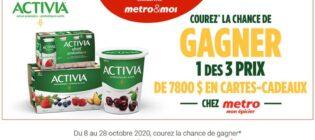 Concours Metro Danone Activia cartes-cadeaux de 7800$