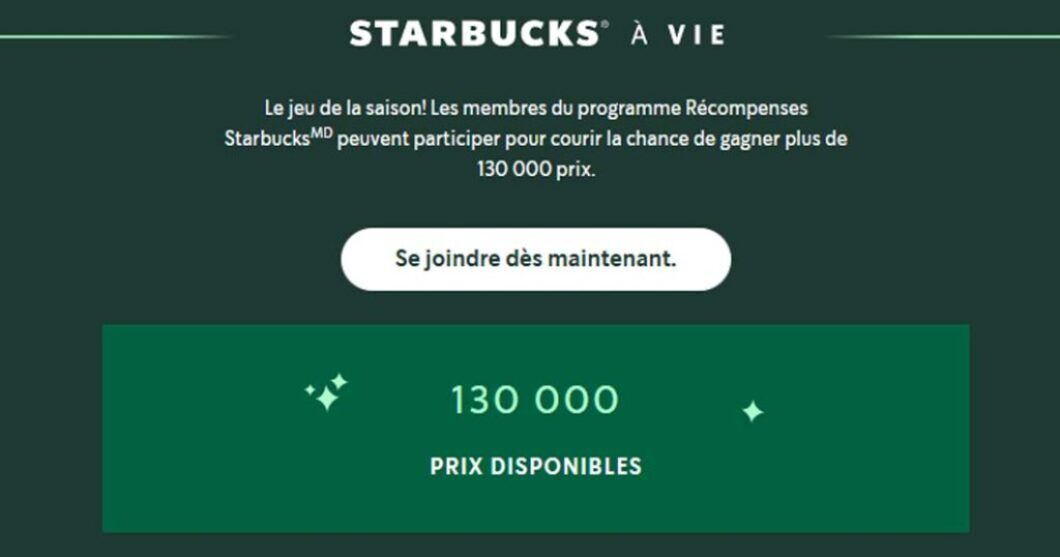 Concours Starbucks pour la vie Édition des fêtes