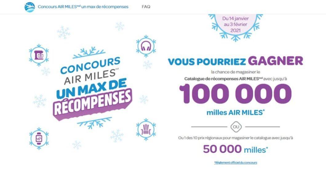 Concours Air Miles Un max de récompenses