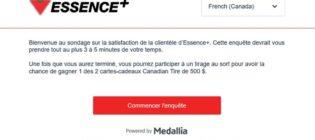 Concours sondage satisfaction clientèle Essence+ Canadian Tire