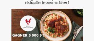 Concours Poulet.ca Gagner 5 000 $ pour vous réchauffer le cœur en hiver