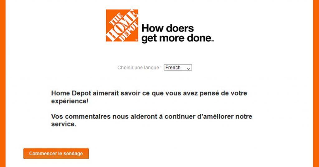 Loterie promotionnelle sondage à la satisfaction de la clientèle de Home Depot