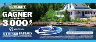 Concours Bud Light Gagnez vos vacances avec WeChalet