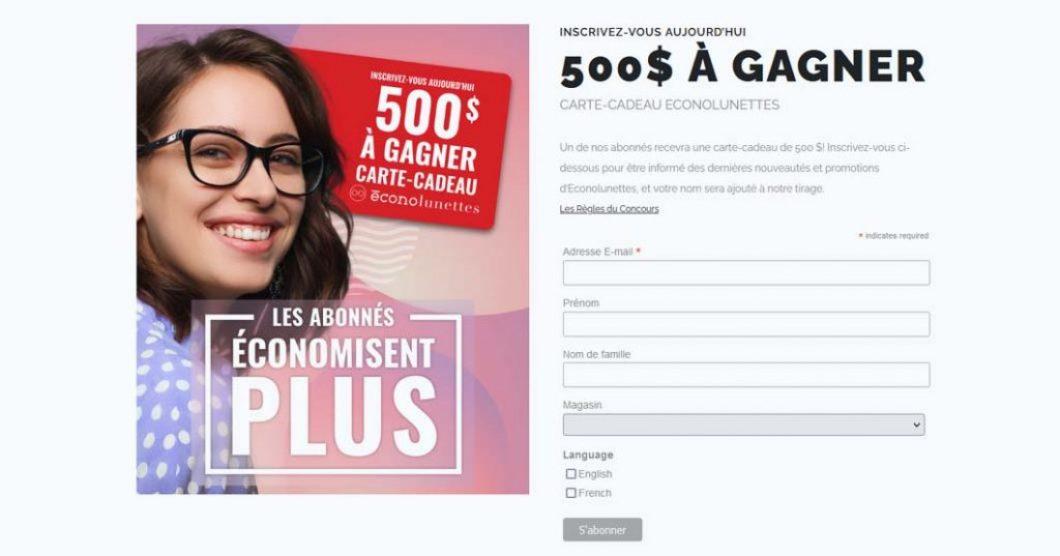 Concours Carte-cadeau EconoLunettes